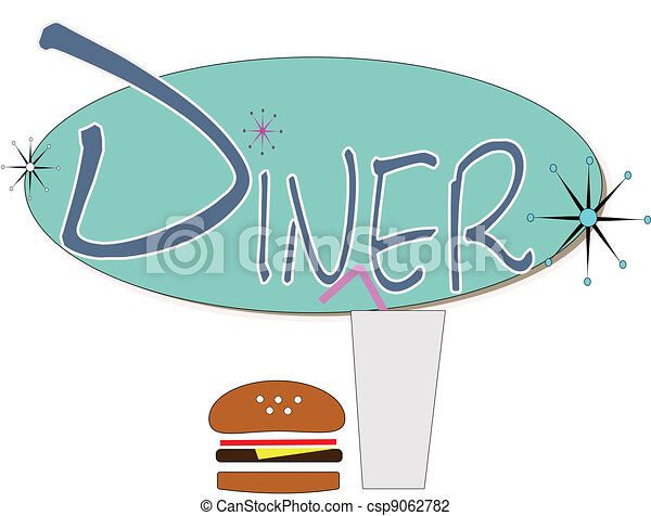 Diner sign with burger and drink over white in retro style.