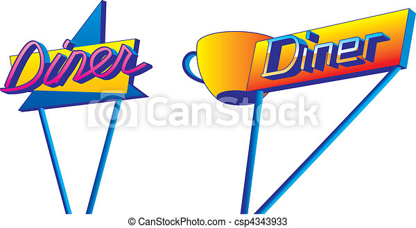 A Pair Of Retro Looking Diner Signs In 1950s Style Vectors