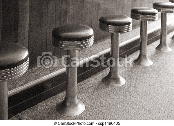 Diner Stools Bar Stools Of An Antique Diner Stock Images