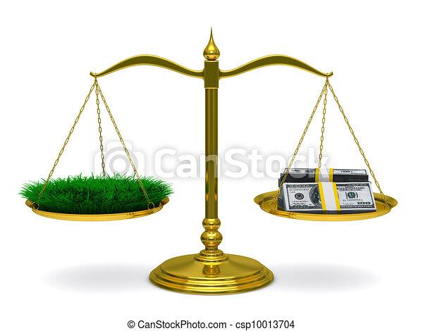 Hierba y dinero en escalas. Imagen 3D aislada - csp10013704
