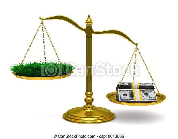 Hierba y dinero en escalas. Imagen 3D aislada - csp10013866
