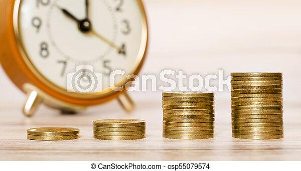 dinero, bandera, tiempo - csp55079574