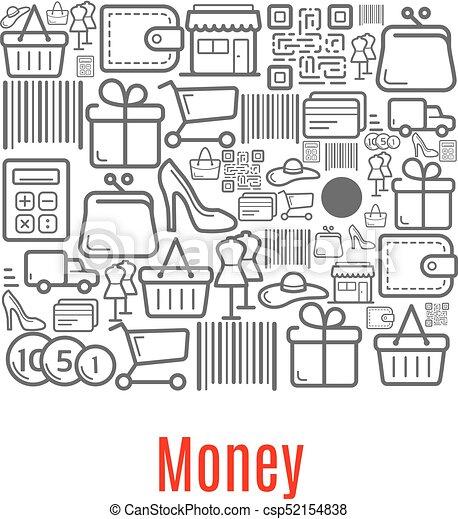 Bolso de dinero de iconos de tiendas - csp52154838