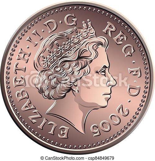 dinero, británico, uno, vector, moneda, penique - csp84849679