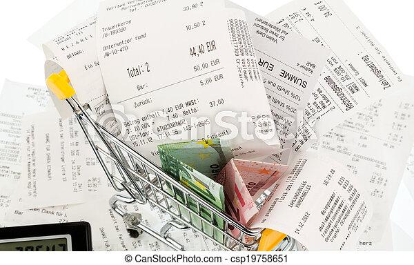 dinero, carrito, compras, recibos - csp19758651