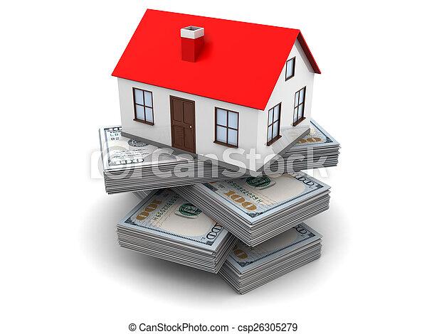 Dinero, casa. Dinero, concepto, 3d, ilustración, hogar.