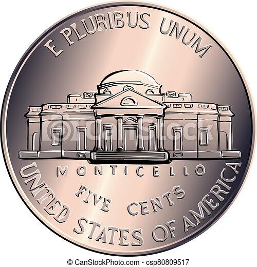 dinero, centavos, moneda, norteamericano, vector, cinco - csp80809517