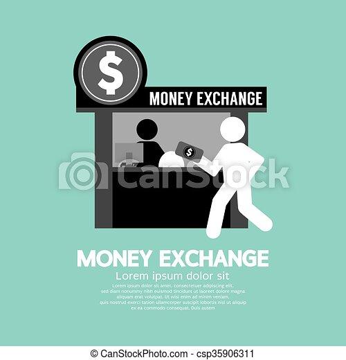 El mostrador de intercambio de dinero. - csp35906311