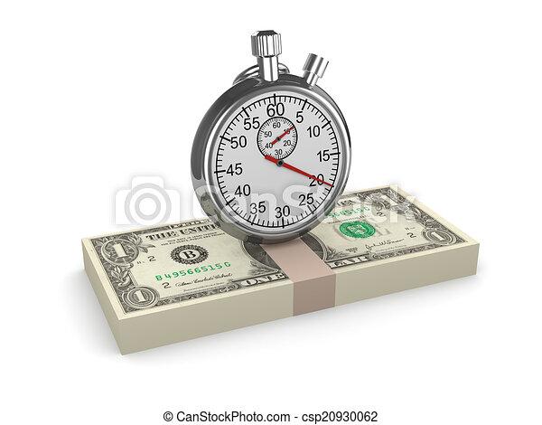 3D Time es dinero, cronómetro de US Dollars - csp20930062