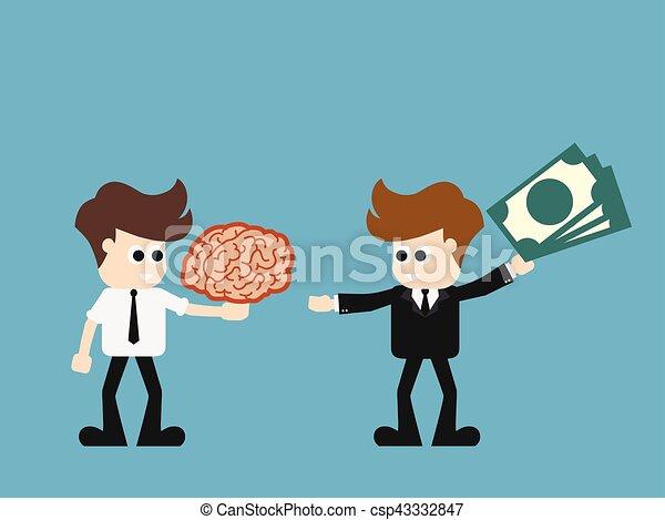 Los empresarios intercambian dinero a la idea. Ilustración de dibujos animados, ilustración de vectores. - csp43332847