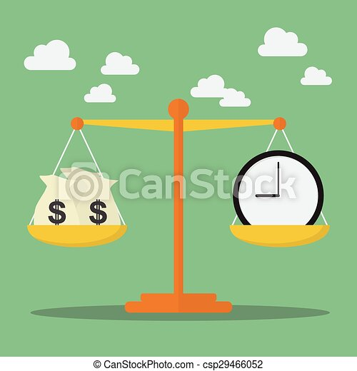 Dinero y Tiempo en la balanza - csp29466052