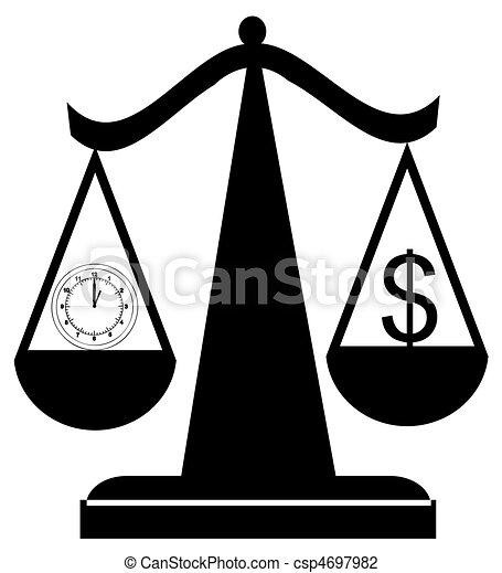 Escamas balanceando tiempo y dinero - csp4697982