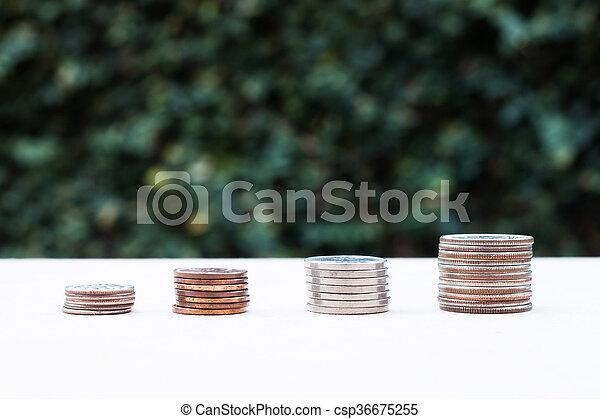 dinero, fondo verde, gráfico, crecer, moneda - csp36675255