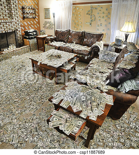Dinero, habitación, llenado, sentado. Superficies, todos, adicional ...