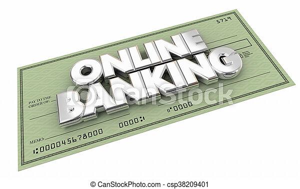 dinero, ilustración, banca, ahorros, palabras, en línea, cheque, 3d - csp38209401