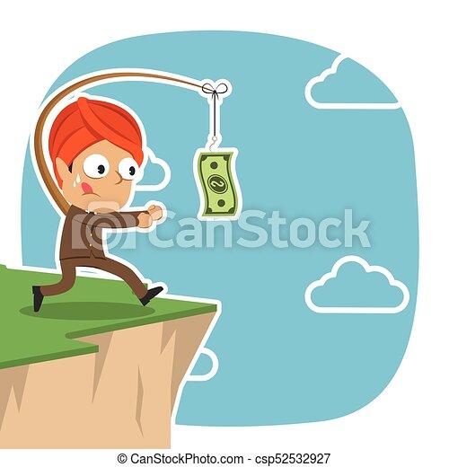 Un hombre de negocios indio está persiguiendo dinero en Cliff - csp52532927