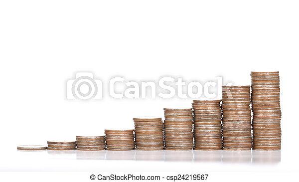 dinero, moneda, pila, depósito - csp24219567