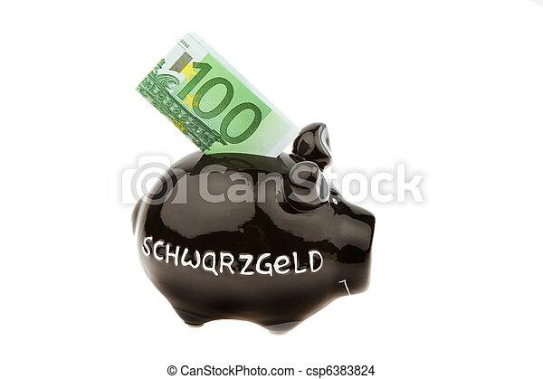 Piggy Bank por dinero negro - csp6383824