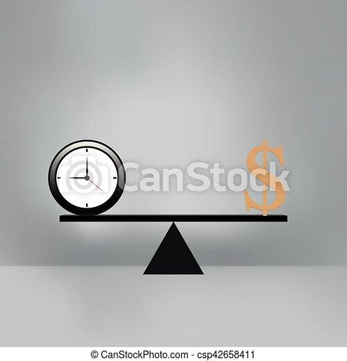 Dinero y Tiempo en la balanza. - csp42658411