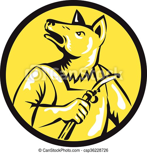 Dingo Dog Welder Circle Retro - csp36228726