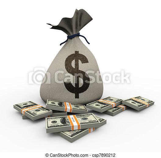 dinheiro, 3d, dólar, saco, pacotes - csp7890212