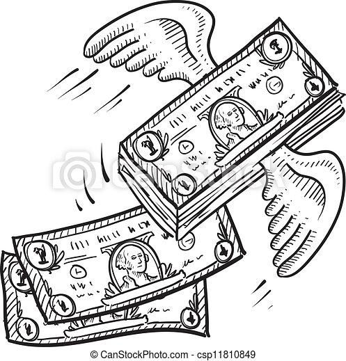 dinheiro, afastado, voando, esboço - csp11810849