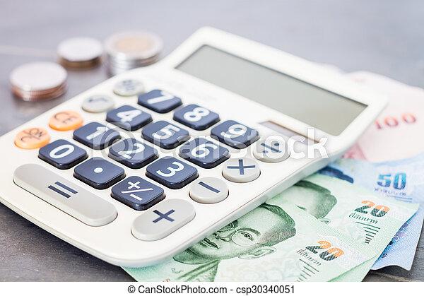 dinheiro, calculadora, cinzento, fundo - csp30340051