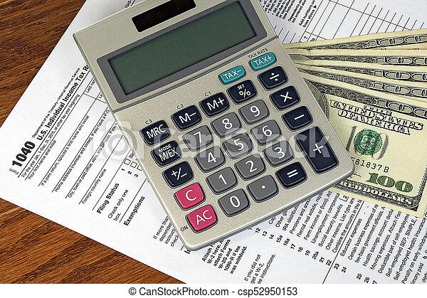 dinheiro, calculadora, forma imposto - csp52950153
