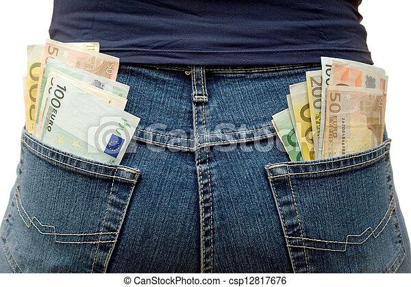 dinheiro, cheio, bolsos - csp12817676