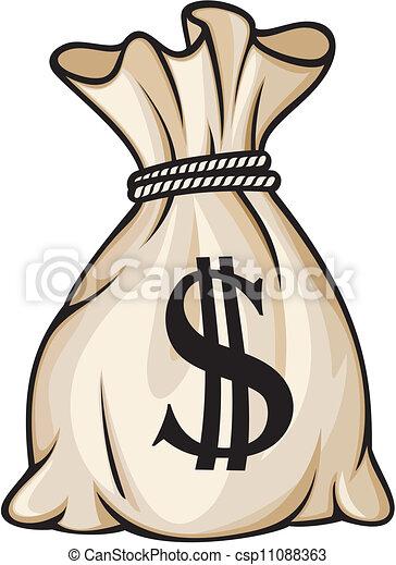 dinheiro, dólar, saco, sinal - csp11088363