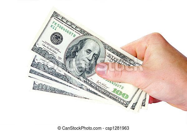 dinheiro, mãos - csp1281963