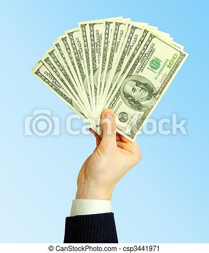 dinheiro, mãos - csp3441971
