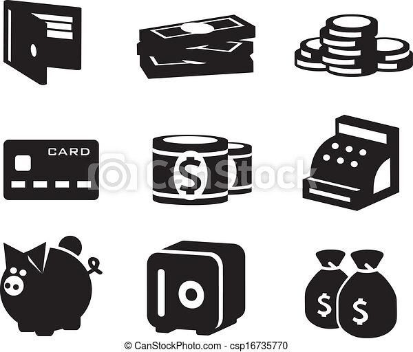 dinheiro, vetorial, jogo, ícones - csp16735770