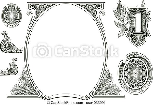 dinheiro, vetorial, ornamentos - csp4033991