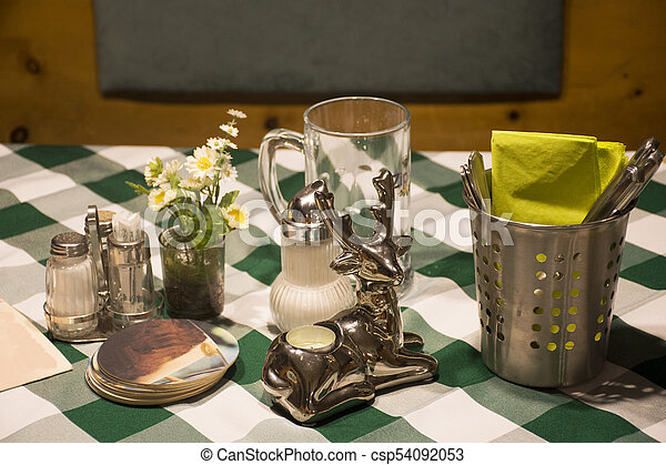 Dining accessories for eat on table in dining room at restaurant - csp54092053