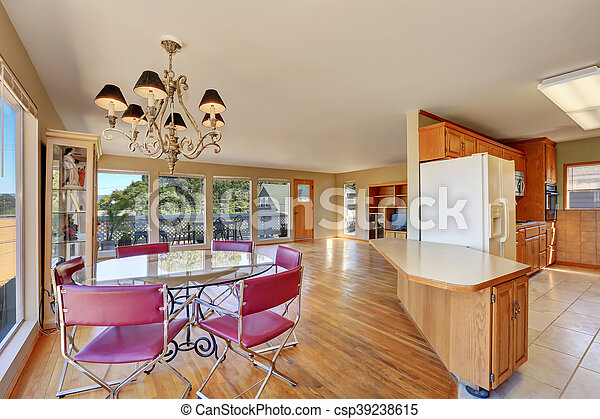 Dining Area With Round Glass Table And Red Chairs Kitchen View Northwest Usa