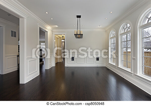 Dining room in new construction home - csp8050948