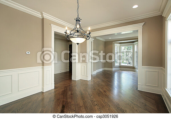 Dining room in new construction home - csp3051926