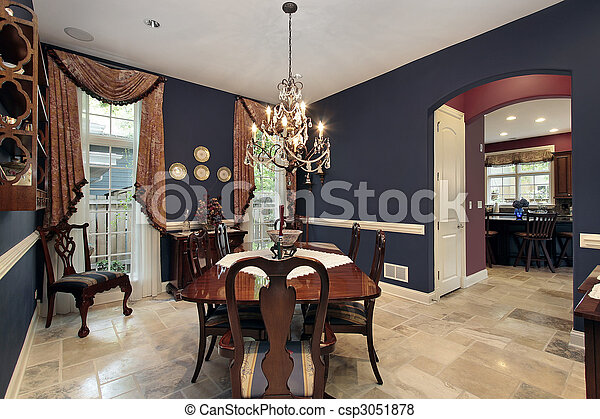 Dining room with arch entry - csp3051878