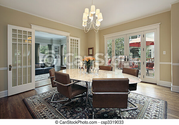 Dining room with deck view - csp3319033