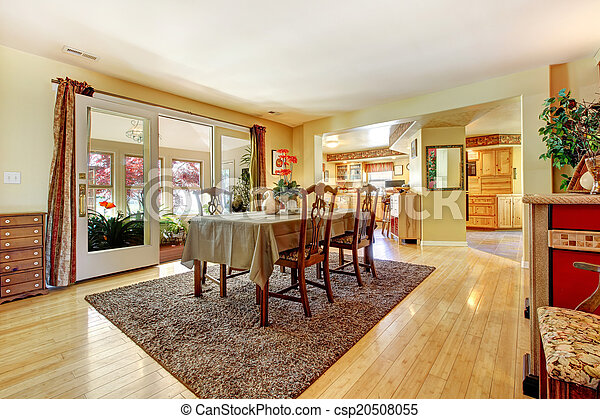 Dining Room With Exit To Greenhouse Dining Room With Open Door To Greenhouse Furnished With Antique Dining Table Set Canstock