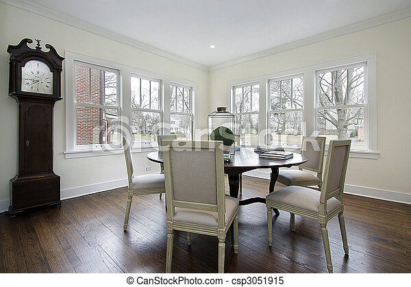 Dining Room With Grandfather Clock   Csp3051915