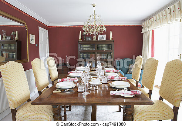 Dining Room With Laid Table - csp7491080