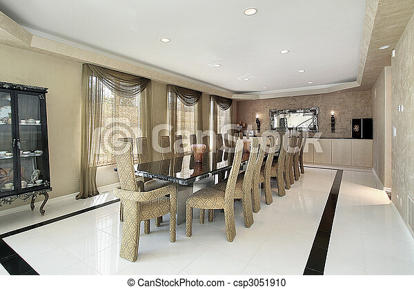 Dining Room With Marble Table Dining Room In Luxury Home With