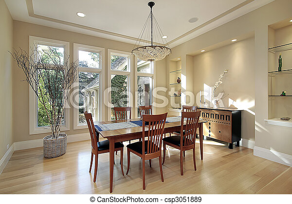 Dining room with narrow windows - csp3051889