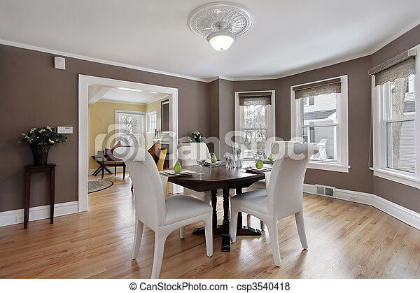 Dining room with wall of windows - csp3540418