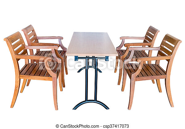 Dining table and wooden chairs. - csp37417073