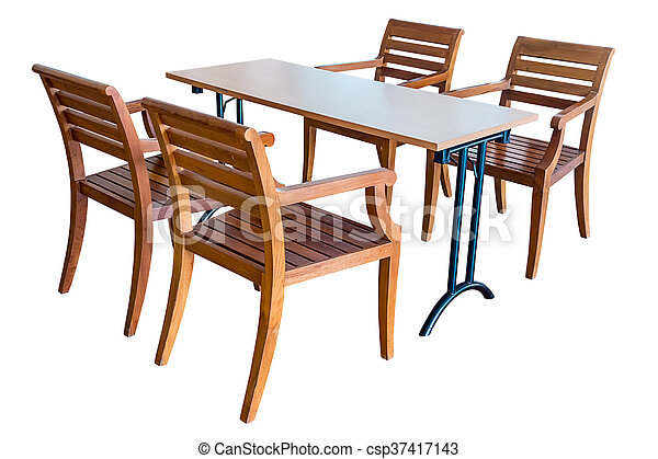 Dining table and wooden chairs. - csp37417143