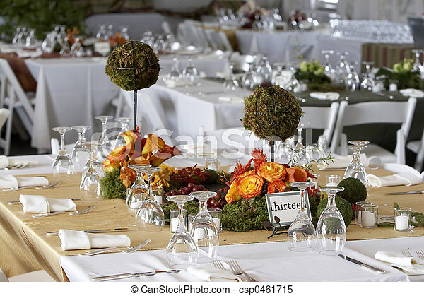 Dining table set for a wedding or corporate event - csp0461715