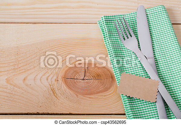 Dining Table Setting. Cutlery with Empty Tag and Present. - csp43562695 & Dining table setting. cutlery with empty tag and present.... stock ...